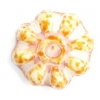 Glass Bead Flower 12mm Beige Marble Strung